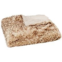 "Best Home Fashion Champagne Fox Faux Fur Lounge Throw Blanket 58"" x 60"" - TR"