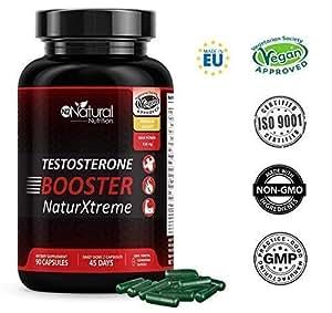 Testosterona Natural Aumenta Nivel Testosterona-Fenogreco Ginseng Maca Taurina Zinc. Rendimiento Muscular Potencia el Vigor y el Deseo. 90 Cápsulas Vegetales Certificado VEGANO-CE-N2 Natural Nutrition