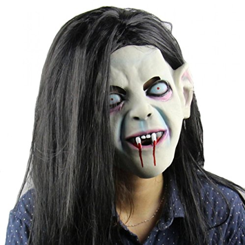 Scary Toothy Grimace Zombie Ghost Halloween Mask Costume Creepy Latex Cosplay Masks with Hair for Adult
