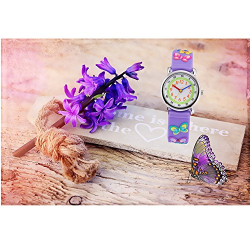 Children Kids Toddler Watches Age 4-7 Time Teacher Watches, Cartoon Character 3D dinosaur Silicone Band Watches (Purple - Butterfly) by Jewtme (Image #3)