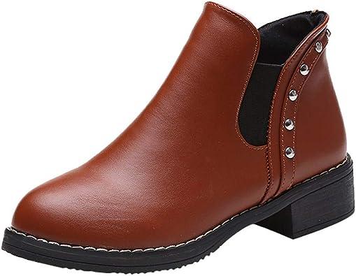 Weant Chaussures Femme Bottes Bottines Chaussures Plates pour Femmes avec Rivets Bottines Moto Bottines en Cuir Chaussures à Bout Rond Bottes et Boots