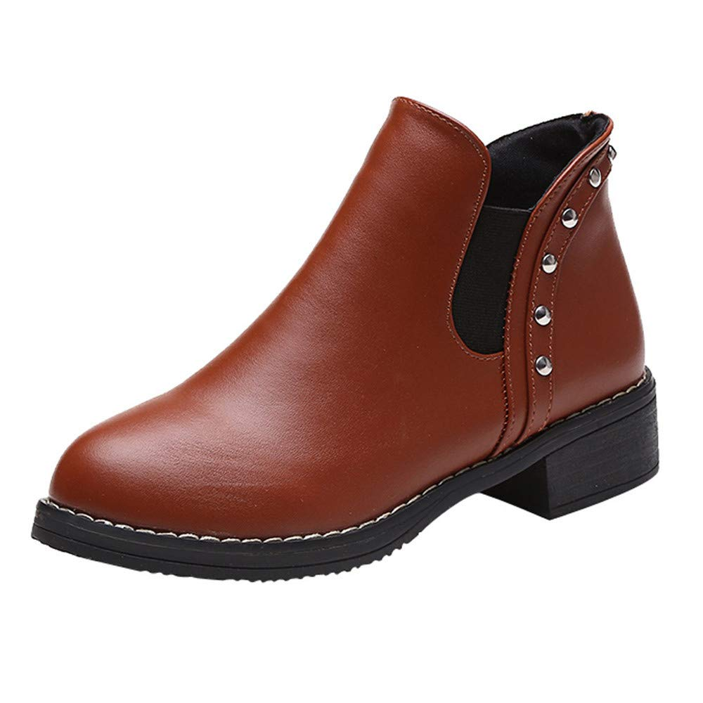 Fashion Trend Women Rivets Flat Shoes Martain Boots Leather Ankle Boots Pull-on Round Toe Shoes