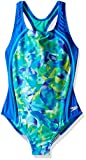 Speedo Girls Tie Dye Sky Sport Splice One Piece Swimsuit, Size 8, Blue