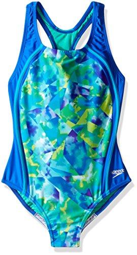 Speedo Girls Tie Dye Sky Sport Splice One Piece Swimsuit, Size 16, Blue