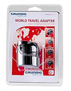 Grundig 42170761 Universal Universal Negro adaptador de enchufe eléctrico - Adaptador para enchufe (570 mm, 470 mm, 190 mm, 165 g)