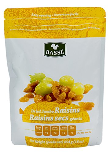 Golden Raisins, 1 Pound Bag of Dried Jumbo Golden Raisins from Basse Dried Fruits - 1lb Bag of Delicious, Healthy Raisins (1 Pound Bag) (Calories In One Slice Of Bran Bread)