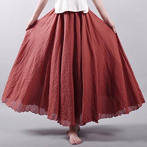 Cotone Elastica Gonna Bohemian Gonna Donna Lino Cintola Vestito Vintage Ruggine rossa Maxi Lunga 0OnnaxH