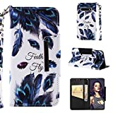 for Samsung Galaxy S10 Wallet Case with Card Holder and Screen Protector,QFFUN Elegant Pattern Design [Peacock Feather] Magnetic Stand Leather Phone Cases Etui Bumper Flip Cover with Lanyard
