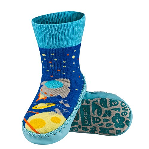 Sevira Kids - Calcetines con suela de piel para bebés de 0 a 24 meses, talla europea 19-21, diferentes colores multicolor Lapin 1 Talla:talla: 19-21 (bebé 0-24 meses, 13 cm) Garçon 1-A