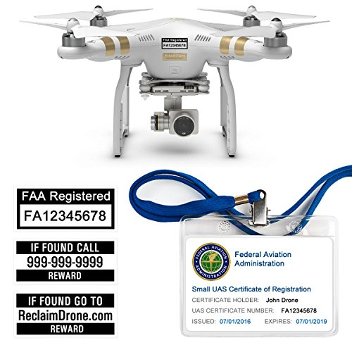 (FAA Drone Labels (2 Sets of 3) + FAA UAS Registration ID Card for HOBBYIST Pilots + Lanyard and ID Card Holder)