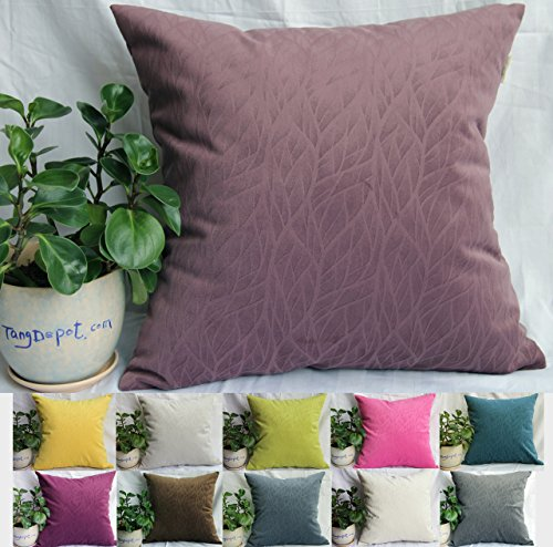 Purple Toss Pillow (TangDepot Solid Velvet Decorative Pillow Covers/Euro Pillow shams, Super Soft Velour, Micro embossed Leaf texture and shape, 10 sizes & 11 colors options, Blue, Blue Black, Charcoal Black, Coffee, Hot Pink, Light Green, Light Purples, Silver Gray, White, Wine, Yellow, 12