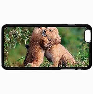 Fashion Unique Design Protective Cellphone Back Cover Case For iPhone 6 Plus Case Cubs Hugs Young Grass Care Black