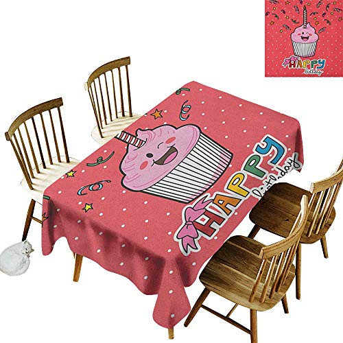kangkaishi Easy to Care for Leakproof and Durable Long tablecloths Outdoor Picnic Pink Strawberry Flavor Cupcake with Candle Cute Face Confetti Bow Tie and Dots W14 x L72 Inch -