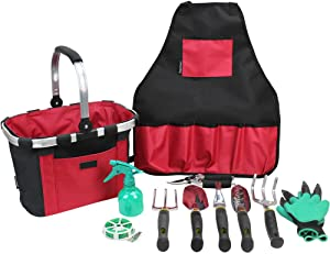 INNO STAGE Garden Tools Set with 11 Pieces Hand Tools, Garden Tools Bag with Heavy Duty Tools, Garden Tool Kit with Foldable Handle, Gardening Gifts for Mom(Red/Black)