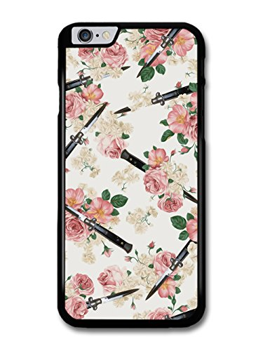 Cool Goth Grunge Switchblade Daggers Knives in Floral Pattern with Pink Roses case for iPhone 6 Plus 6S Plus