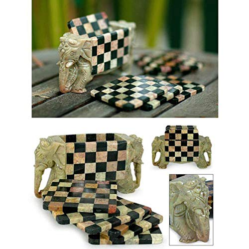 INAKI Handcrafted Elephant and chess design coaster set, Absorbent stone coaster set