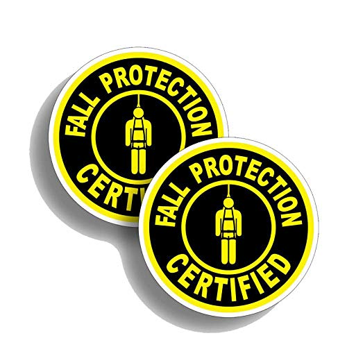 2X 10CM10CM Warning Fall Protection Certified PVC Reflective Decal Car Sticker 12-0618