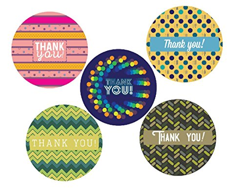 Color Thank You Stickers Roll 1.5 inch | 500 Adhesive Circle Round Labels per Roll | 5 Unique Assorted Modern Happy Warm Pink Teal Green | Baby Shower, Wedding, Graduation, Birthday Parties, Kids
