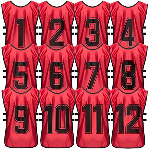 GAMBETA Premium Scrimmage Training Vest - Soccer, Basketball, Football Pinnies - Durable Practice Jerseys for Kids, Youth and Adults - 12-Pack with Carry Bag