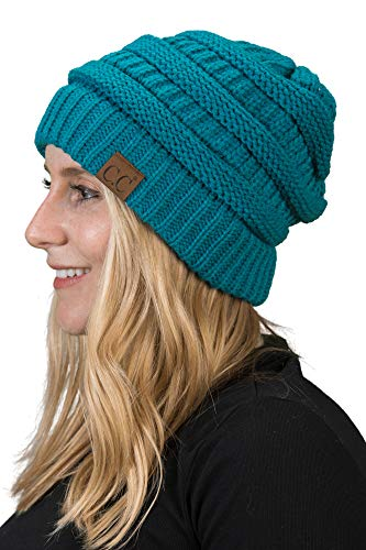 H-6020a-46 Solid Ribbed Beanie - Teal, One Size Fits Most