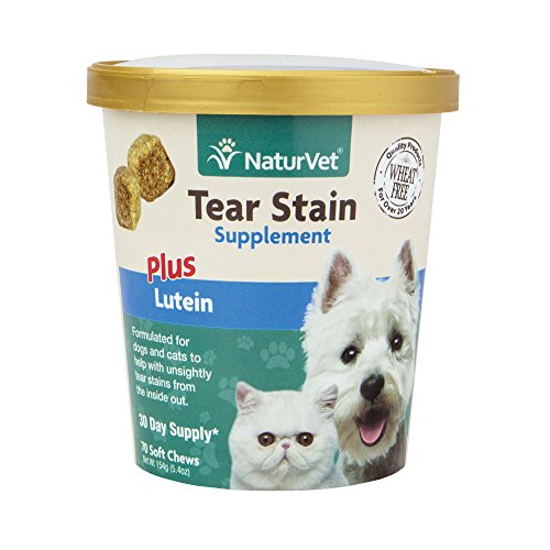NaturVet Tear Stain Supplement Plus Lutein for Dogs and Cats, 70 ct Soft Chews, Made in the USA