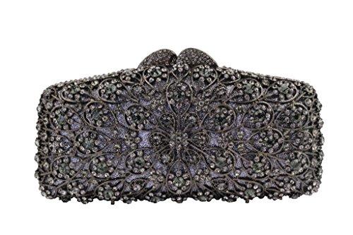 Yilongsheng Las mujeres que deslumbra los bolsos de embrague con piedras de cristal anidada Redondeo gris