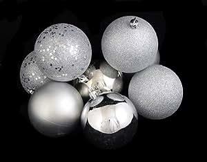 "32ct Silver Splendor Shatterproof 4-Finish Christmas Ball Ornaments 3.25"" (80mm)"