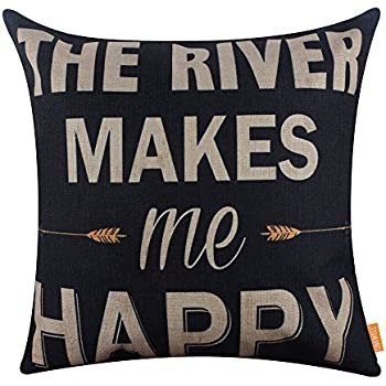 LINKWELL 18x18 inches Vintage The River Makes Me Happy Burlap Throw Pillowcase Cushion Cover (CC1269)