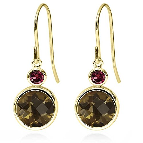 Gem Stone King 3.84 Ct Round Checkerboard Brown Smoky Quartz Red Rhodolite Garnet 14K Yellow Gold Earrings