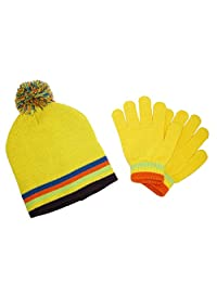 CTM® Kids' Knit Striped Hat and Gloves Winter Set, Yellow