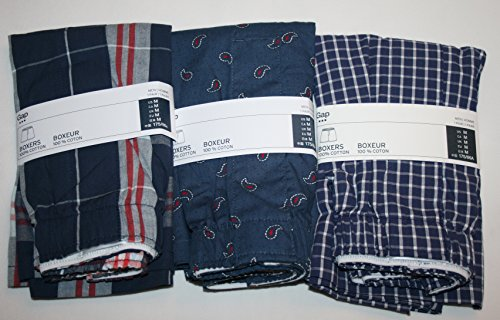 GAP Men's Printed Boxers 3-Pairs Boxer Shorts (Medium) (Paisley, Plaid, Blue Windowpane)