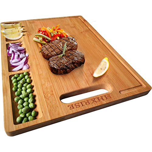 HHXRISE Organic Bamboo Cutting Board For Kitchen, With 3 Built-In Compartments And Juice Grooves, Heavy Duty Chopping Board For Meats Bread Fruits, Butcher Block, Carving Board, BPA Free