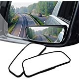 AUDEW 2 Pack Square Blind Spot Mirror 360℃ ABS Glass For All Universal Vehicles Car Fit Stick-on Design