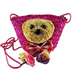 Top Shop Cartoon Bear Handmade Crochet Straw Woven Shoulder Handbags Tote Rosered Beach Bag