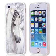 iPhone SE Case Horse,Case for iPhone SE/5S/5 W Beautiful Mr White Horse