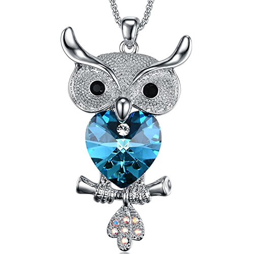 Blue Heart Owl Tree Branch Pendant Crystal Rhinestone Necklace with Jewelry Box for Girls