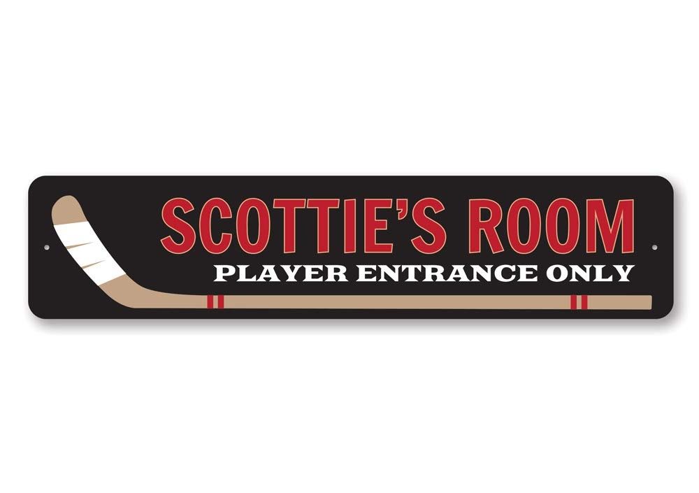 Personalized Kid Name Room Sign Hockey Lover Player Entrance Only Sign Quality Aluminum ENSA1002105-4x18 Quality Aluminum Sign Hockey Stick Child Decor Hockey Sign
