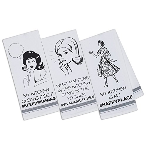 DII Design Imports #MYKITCHEN Printed Dishtowels Set of 3 by DII