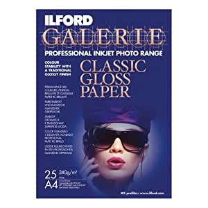 Ilford GALERIE CLASSIC GLOSS PAPER (240g/m²) A4, 25 sheets - Papel fotográfico (25 sheets, 25 hojas, 210 x 297 mm)