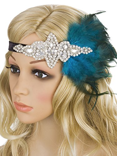 1920 Gangsters Costumes (Vijiv Silver Blue 20s Headpiece Vintage 1920s Flapper Headband Great Gatsby)