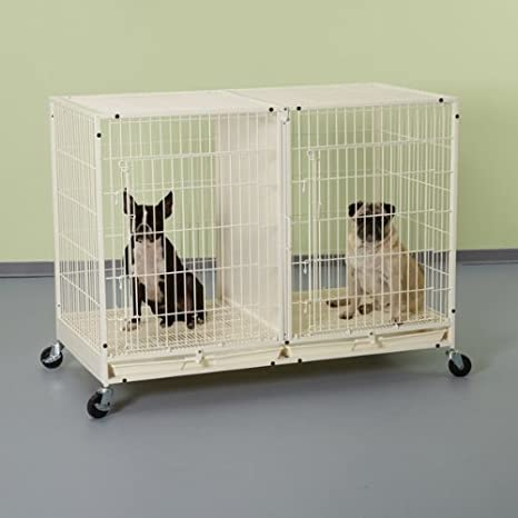 Modular Dog Cage with Plastic Tray in Ivory
