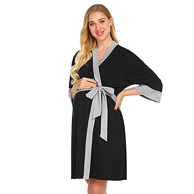 Amazon.com: Maternity Robe,Women Nursing Delivery Nightgowns ...