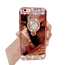 Case iPhone 5, iPhone SE Case Cover, Bonice Diamond Glitter Luxury Crystal Rhinestone Soft Rubber Bumper Bling Mirror Makeup Case with Ring Stand Holder for Apple iPhone 5S/5/SE - Rose Gold