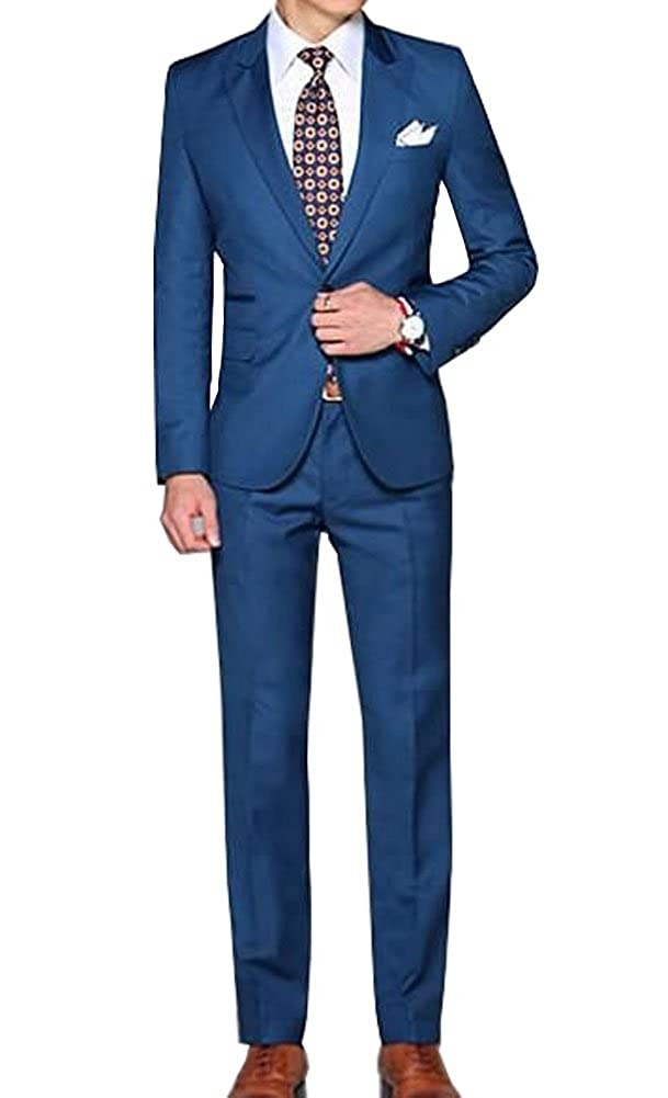 Michealboy Royal Blue Men Suit Two Button Jacket Flat Front Pants Evening