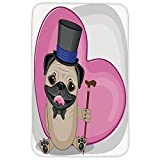 Rectangular Area Rug Mat Rug,Pug,Presentable Funny Dog with a Top Hat and a Cane in front of a Giant Heart Decorative,Pink Black Eggshell,Home Decor Mat with Non Slip Backing