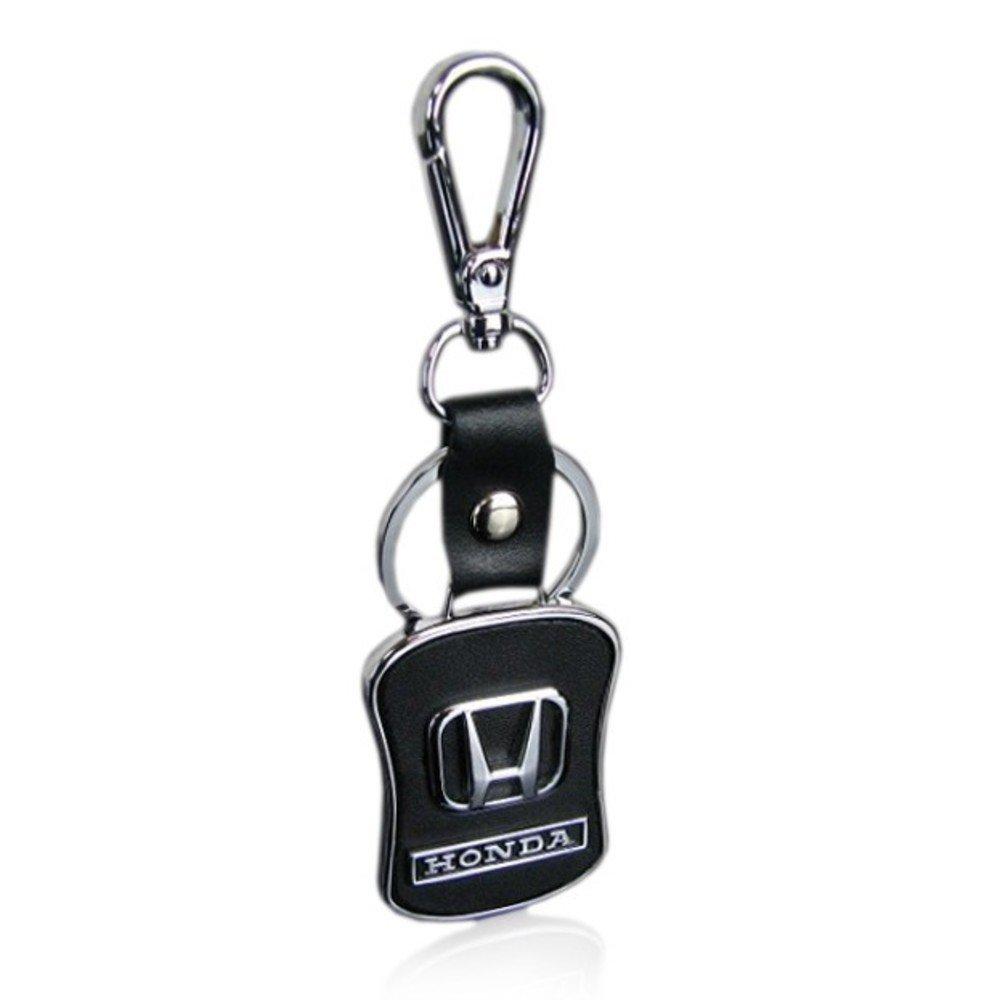 Asier Key Chain for Honda Car Bike Black Leather Keychain Key Ring with Hook (Honda)