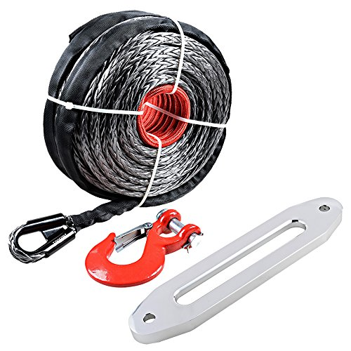 ( 95′ x 3/8″ 20000+ LBS) Synthetic Fiber Winch Rope Cable w/ Protective Sleeve Red Hook + Hawse Fairlead 10″ for SUV Jeep Recovery BLACK