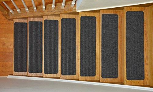 Stair Treads Collection Indoor Skid Slip Resistant Carpet Stair Tread Treads (Dark Grey, Set of 13 (8 in x 30 in)) by RugStylesOnline (Image #1)