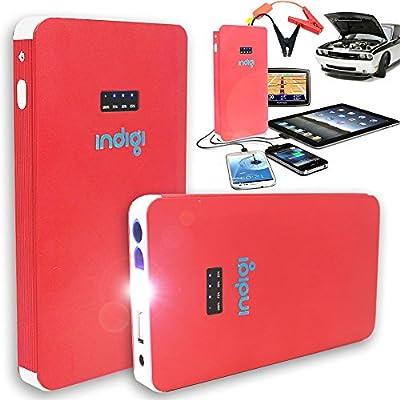 Indigi Portable 8000mAh USB 12V Instant Car Jump Starter Multi-Function Mobile Rechargeable Power Bank (Red)
