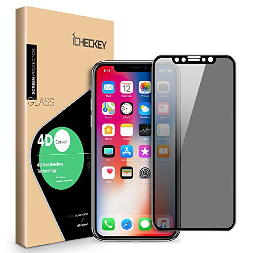 Privacy Screen Protector Compatible for iPhone Xs iPhone X - ICHECKEY 4D Curved Anti-Spy Anti-Peep Full Coverage Tempered Glass Screen Cover Shield for Apple iPhone Xs/iPhone X, 5.8 Inch – Black